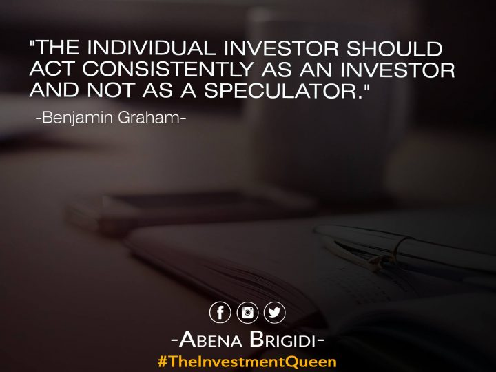 Investor And Not As A Speculator